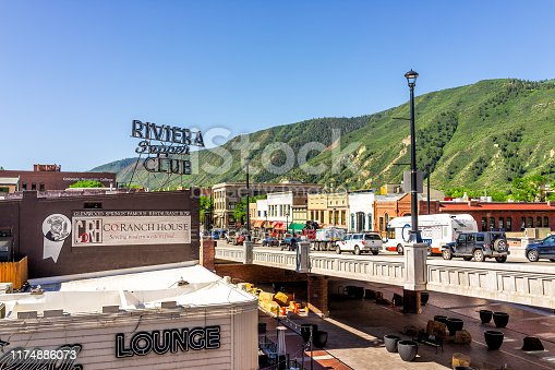 Glenwood Springs, USA - July 10, 2019: Historic downtown street high angle view cityscape in Colorado on Grand Avenue and vintage retro stores restaurants