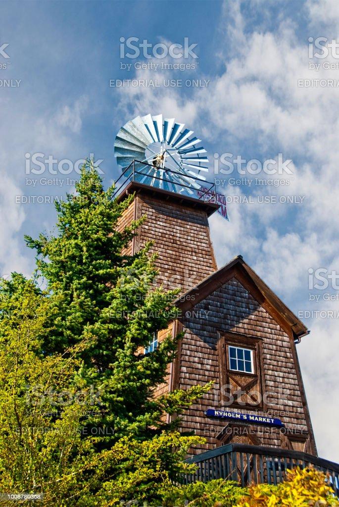 Historic Edgewood Nyholm Windmill stock photo