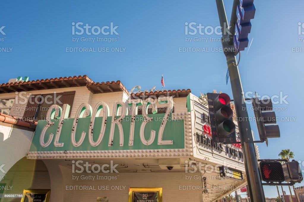 Historic El Cortez neon sign at Fremont Street Experience, downtown Las Vegas stock photo
