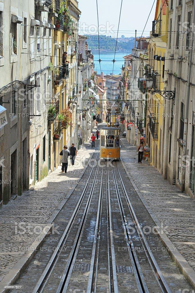 Historic elevador da Bica in Lisbon,Portugal stock photo