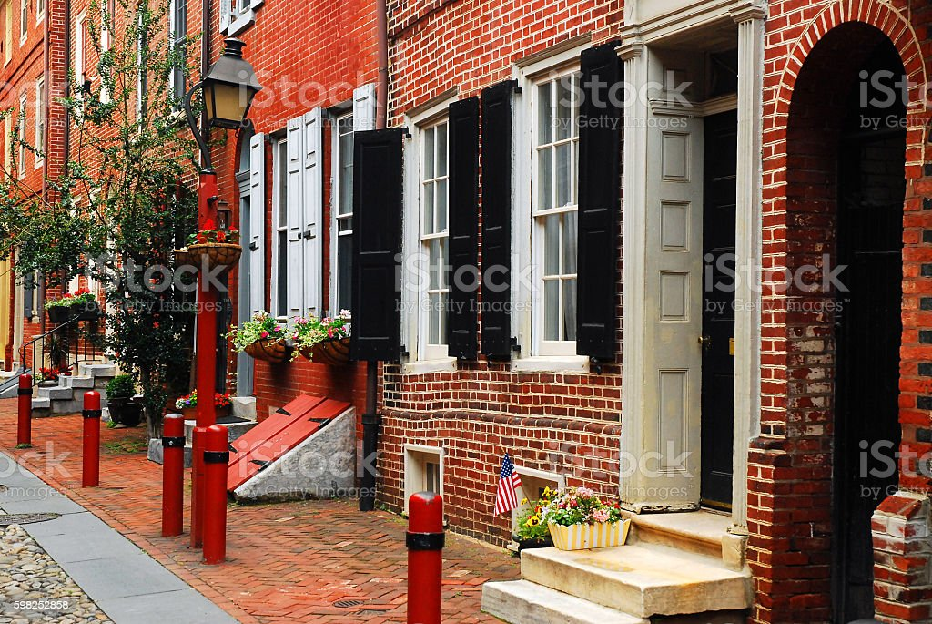Historic Elfreths Alley, Philadelphia stock photo