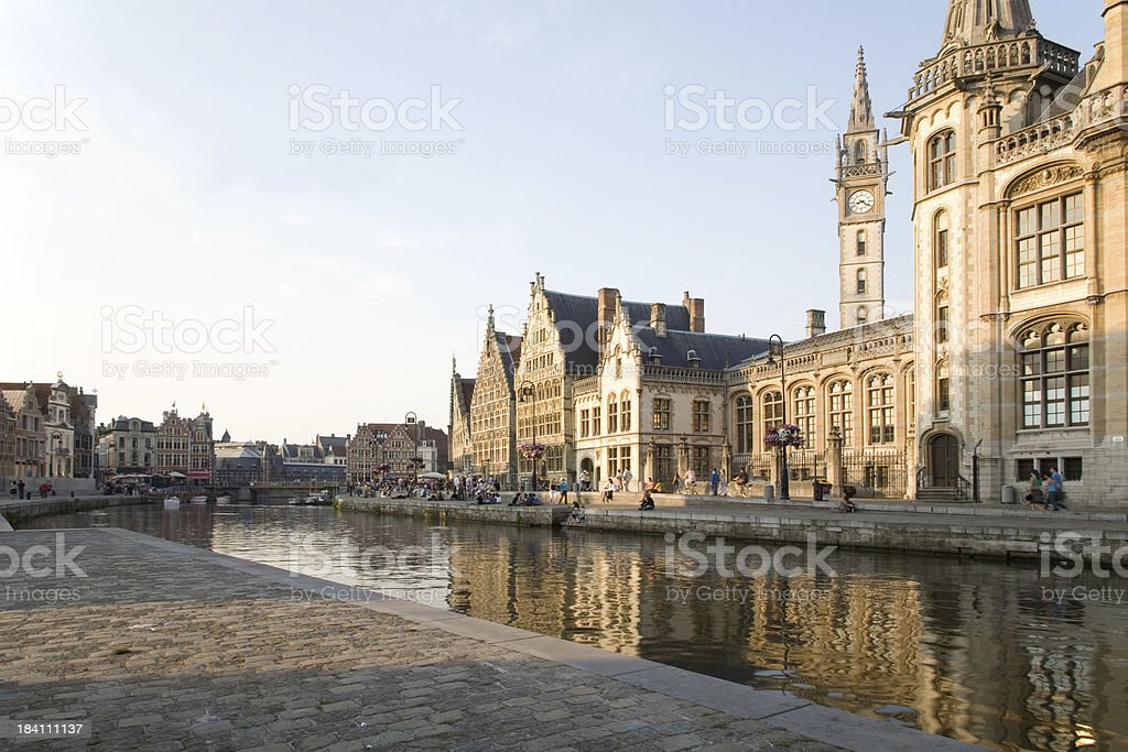 "Historic embankment in Ghent, Belgium ""View of the Graslei and Korenlei embankment at the heart of the historic center of Ghent, Belgium."" Ancient Stock Photo"