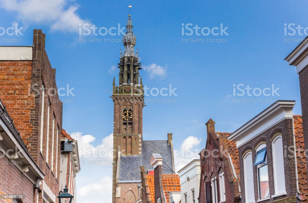 Historic facades and church tower in Edam, Holland stock photo