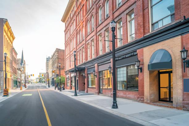 Historic facades in downtown Kitchener Ontario Canada stock photo