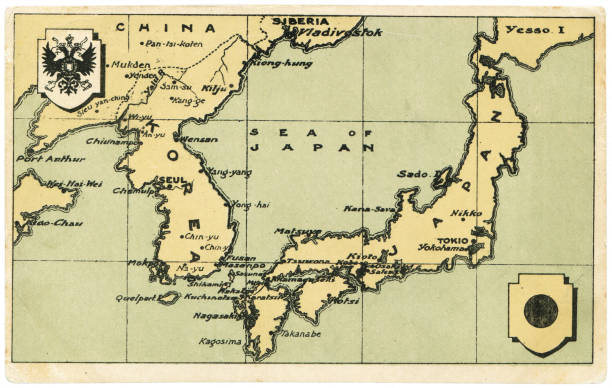 historic Far East map postcard in the Russo-Japanese War period stock photo