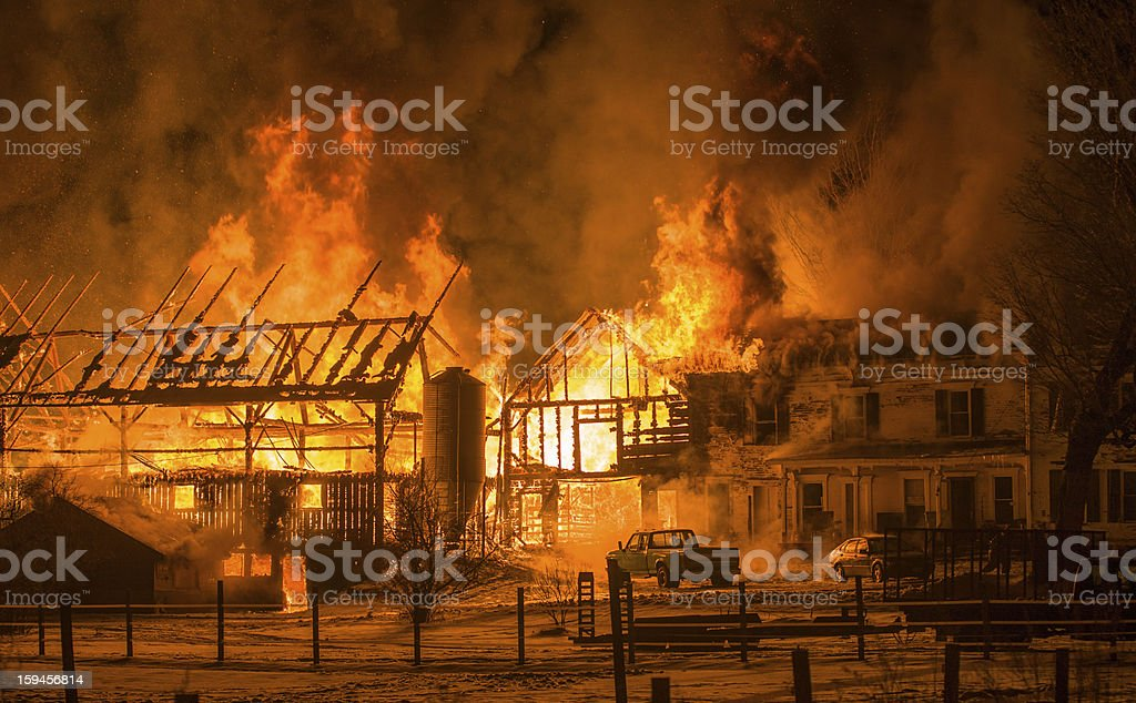 Historic Farm Fire Berlin Vermont royalty-free stock photo