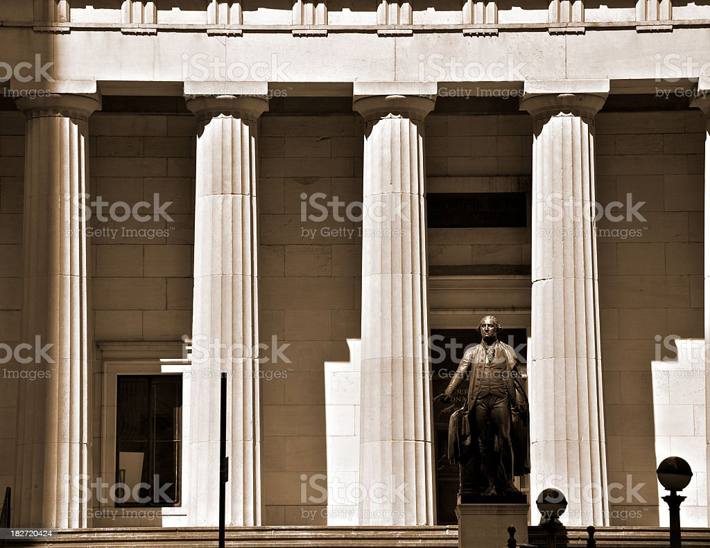 NYC Historic Federal Hall at Wall St in afternoon sun stock photo