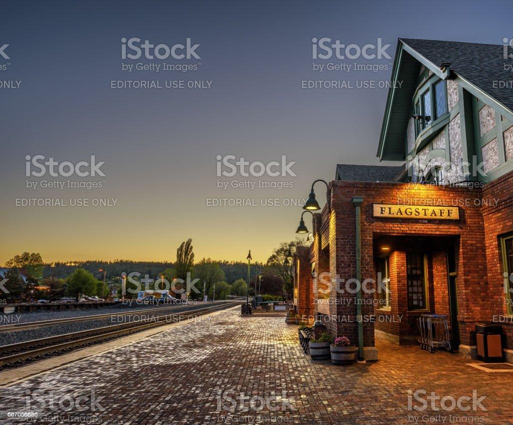 Historic Flagstaff railway station at sunset stock photo