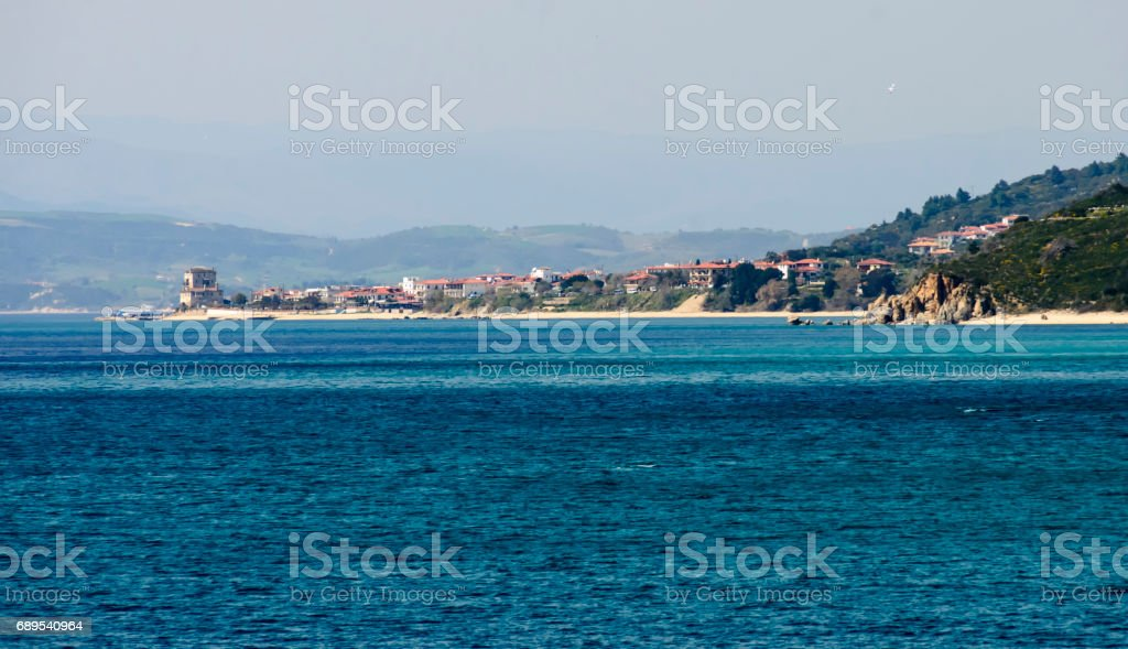 Historic fort in port and city Ouranoupolis , entry site to monasteries of Mount Athos, Chalkidiki, Greece stock photo
