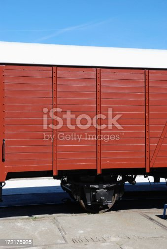 detail of a historic freight train in port hamburg.