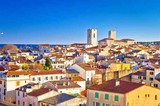 Historic French riviera old town of Antibes seafront and rooftops view stock photo