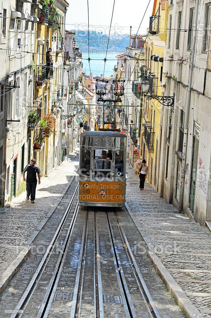 Historic funicular ( Elevador da Bica ) in Lisbon,Portugal stock photo