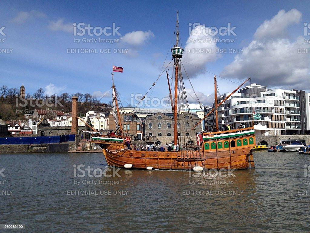 Historic galleon on the River Avon, Bristol harbour stock photo
