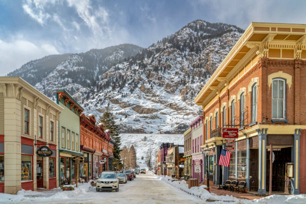 historic Georgetown in Colorado in winter scenery stock photo
