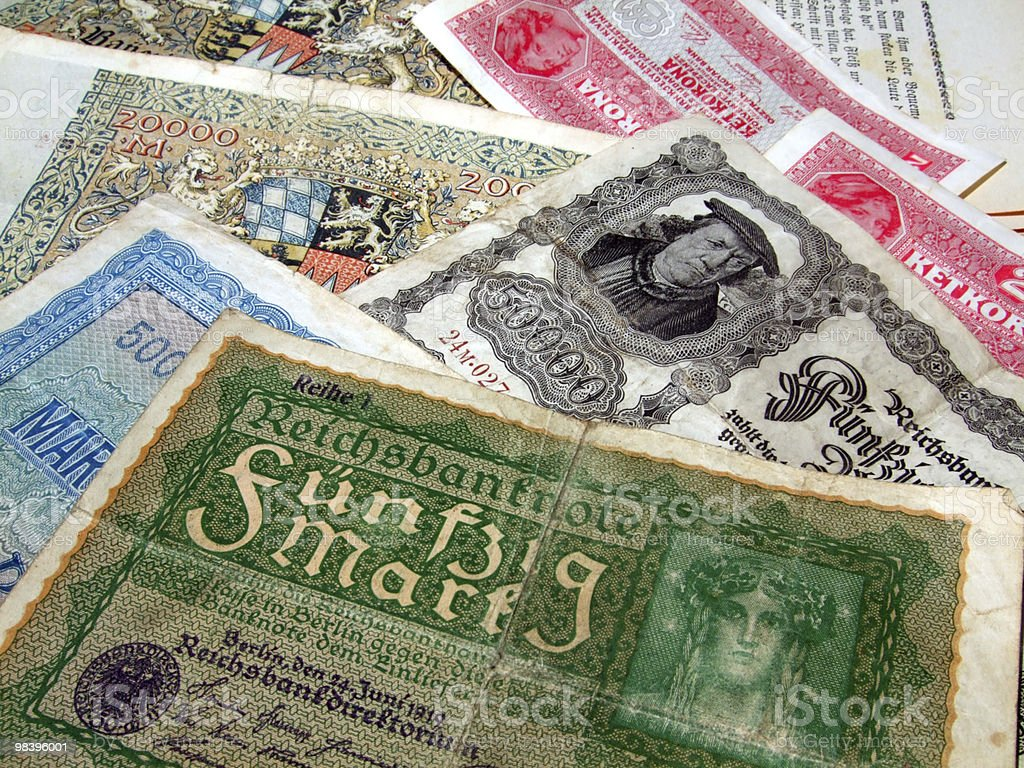 Historic German bank notes royalty-free stock photo