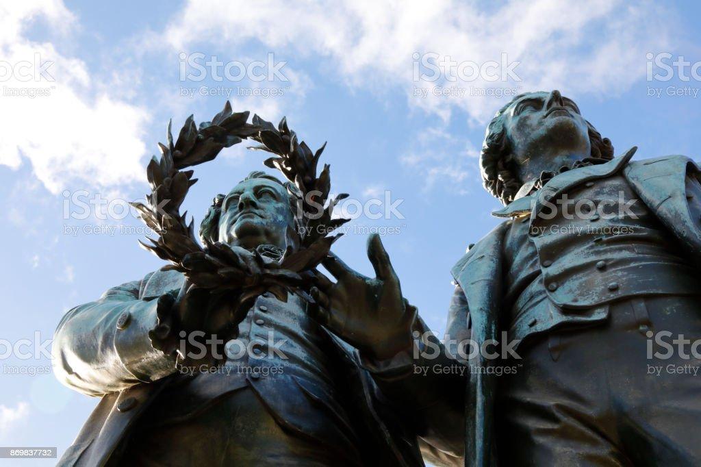 Historic Goethe and Schiller sculpture, Weimar, Germany stock photo
