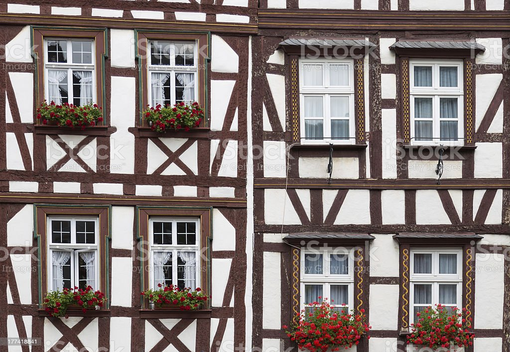 Historic half-timbered houses in  Germany stock photo
