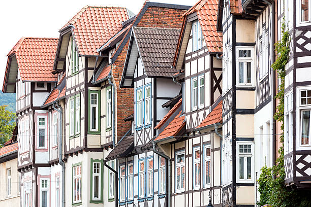 Historic half-timbered houses in the town of Wernigerode, Germany stock photo