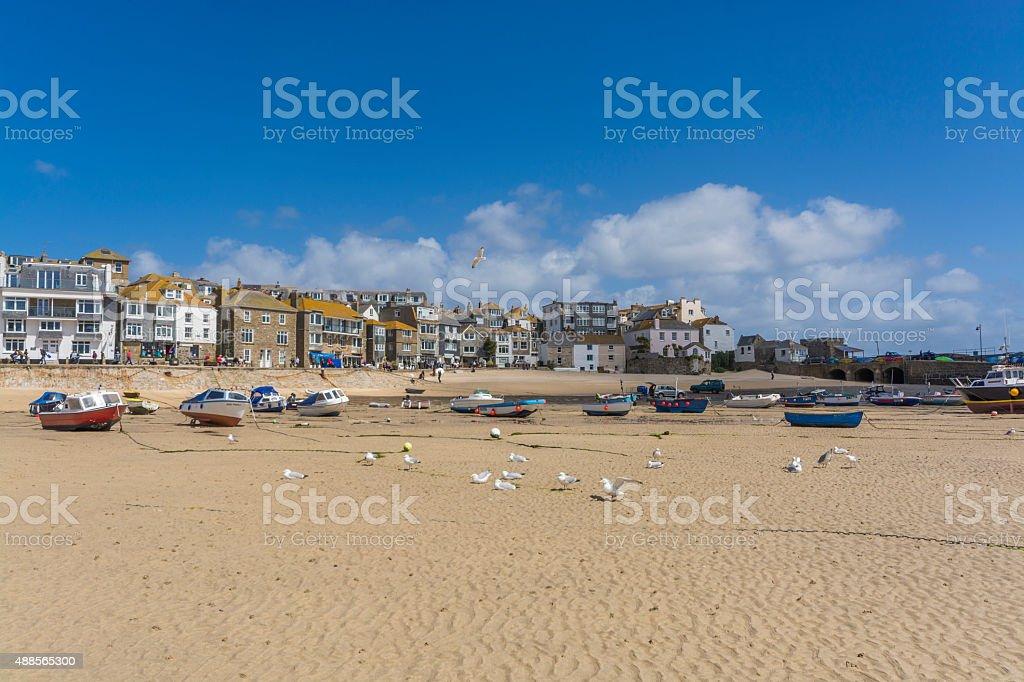 historic harbor and esplanade at st ives Cornwall stock photo