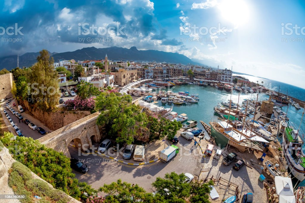 Historic harbour and the old town in Kyrenia (Girne) on the Northern Coast of Cyprus stock photo