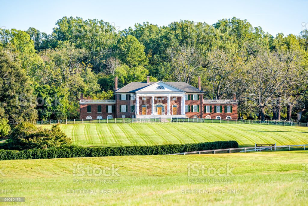 Historic home of James Madison called Montpelier in Virginia, white picket fence stock photo