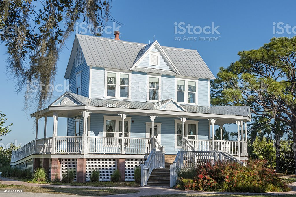 Historic Home with Metal Roof stock photo