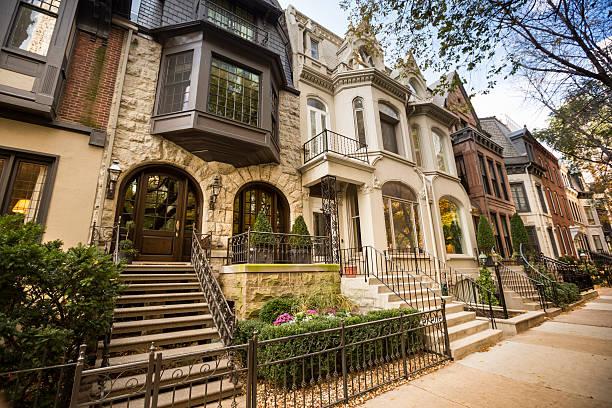 casas históricas de chicago - chicago illinois fotografías e imágenes de stock