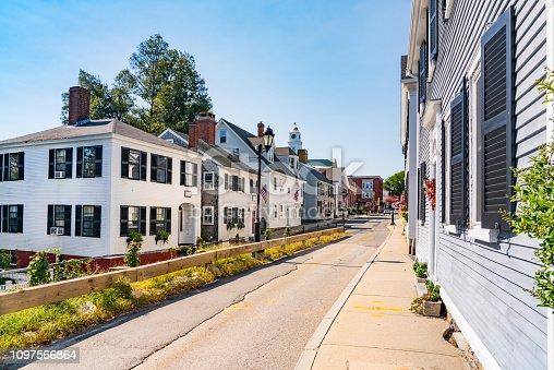 Historic homes along Leyden Street in  Plymouth, Massachusetts