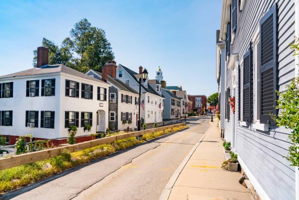 Historic homes in Plymouth, Massachusetts stock photo