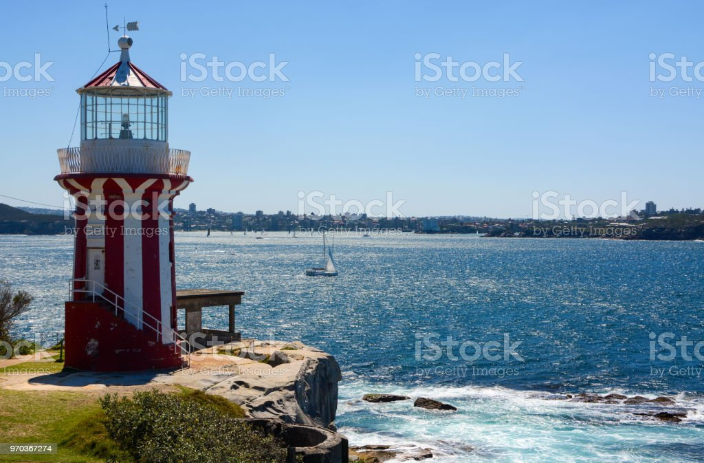 Historic Hornby Lighthouse, also known as South Head Lower Light, erected in 1858 in NSW, Australia stock photo