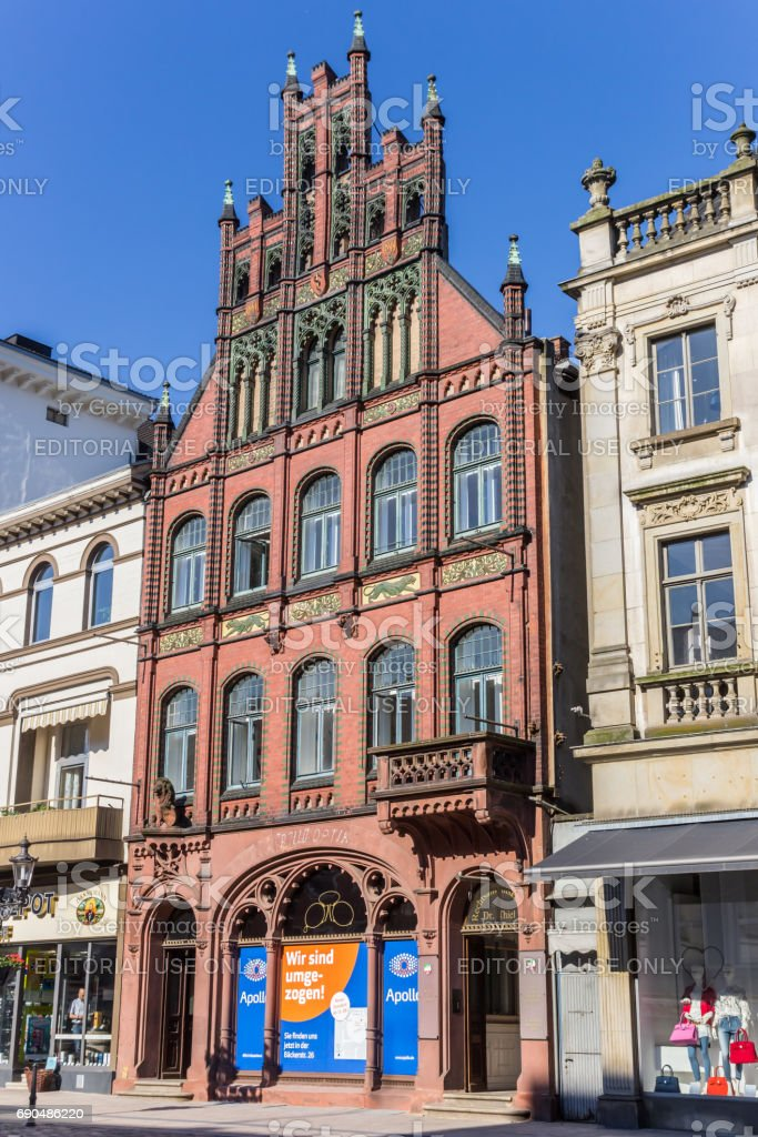 Historic house at the market square of Minden, Germany stock photo