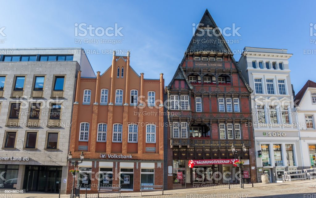 Historic house Haus Schmieding at the market square in Minden, Germany stock photo