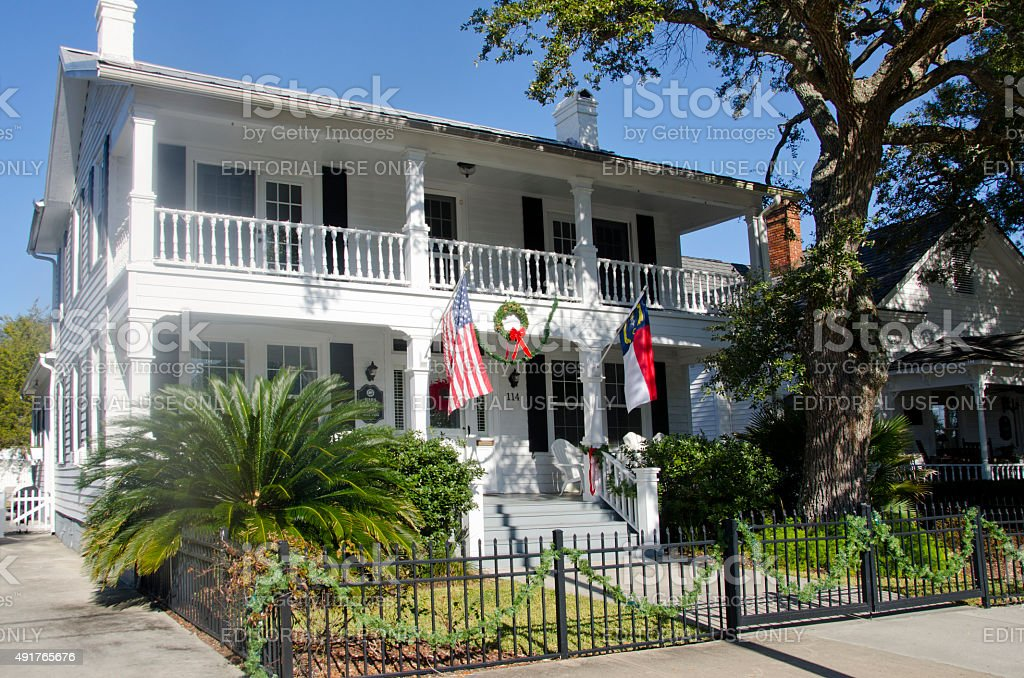 Historic House in Southport, North Carolina stock photo