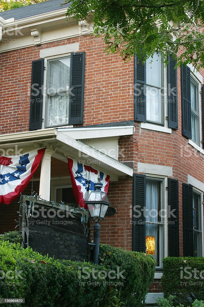 Historic House With Flag stock photo