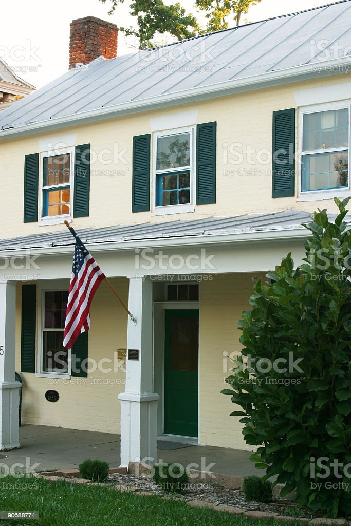 Historic House With Flag royalty-free stock photo