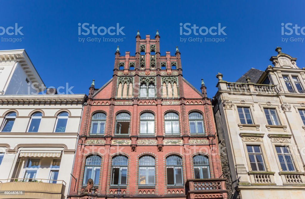 Historic houses at the market square of Minden, Germany stock photo