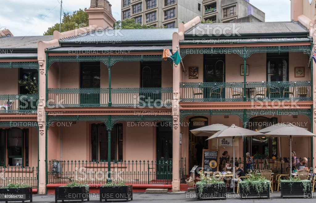 Historic houses in George Street, Sydney Australia. stock photo