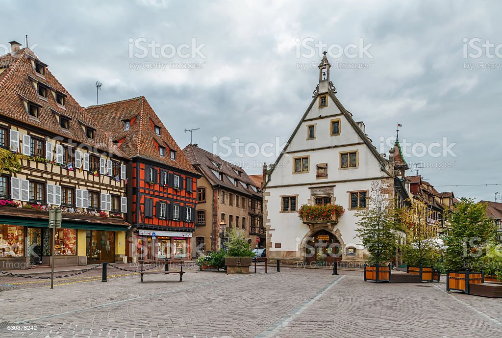 historic houses on Obernai, Alsace, France stock photo