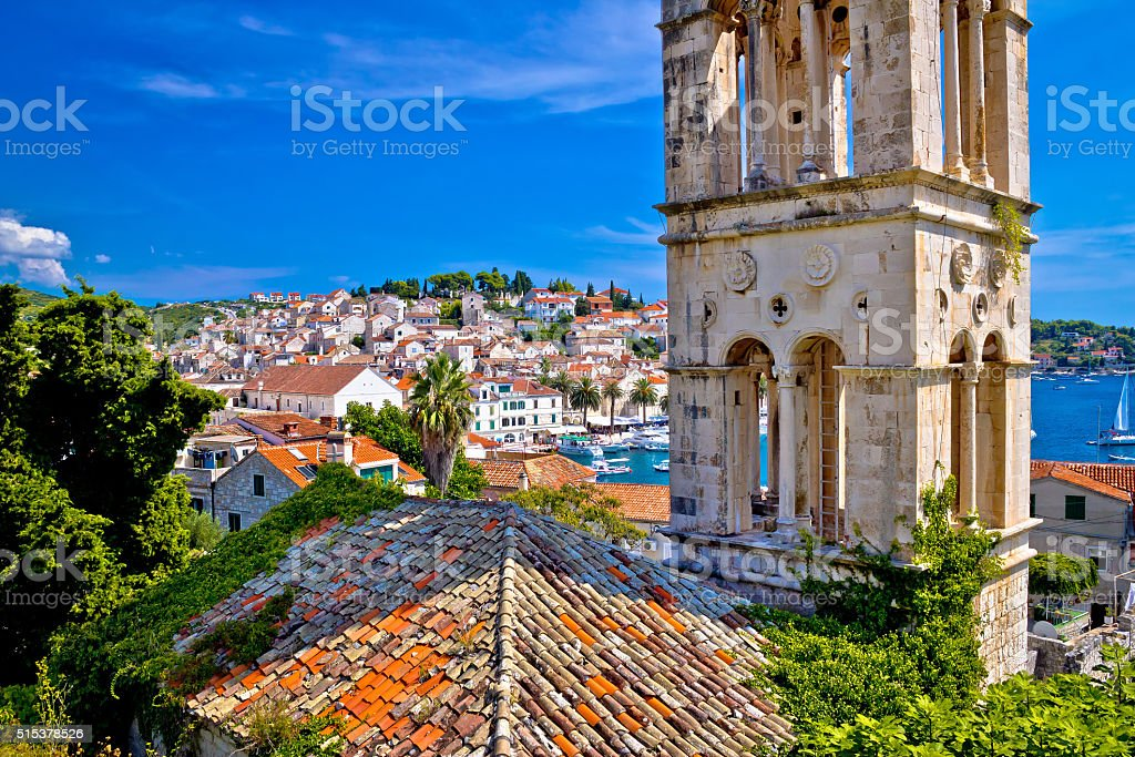 Historic Hvar architecture and waterfront stock photo