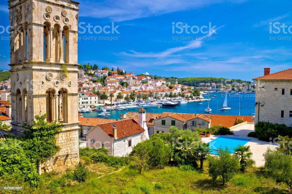 Historic Hvar architecture and waterfront view, Dalmatia, Croatia stock photo