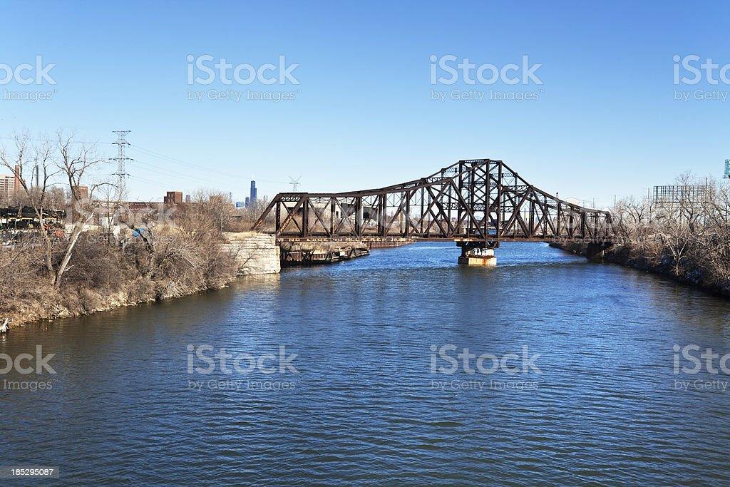 Historic Illinois Central Railroad Swing Bridge across the Chica royalty-free stock photo