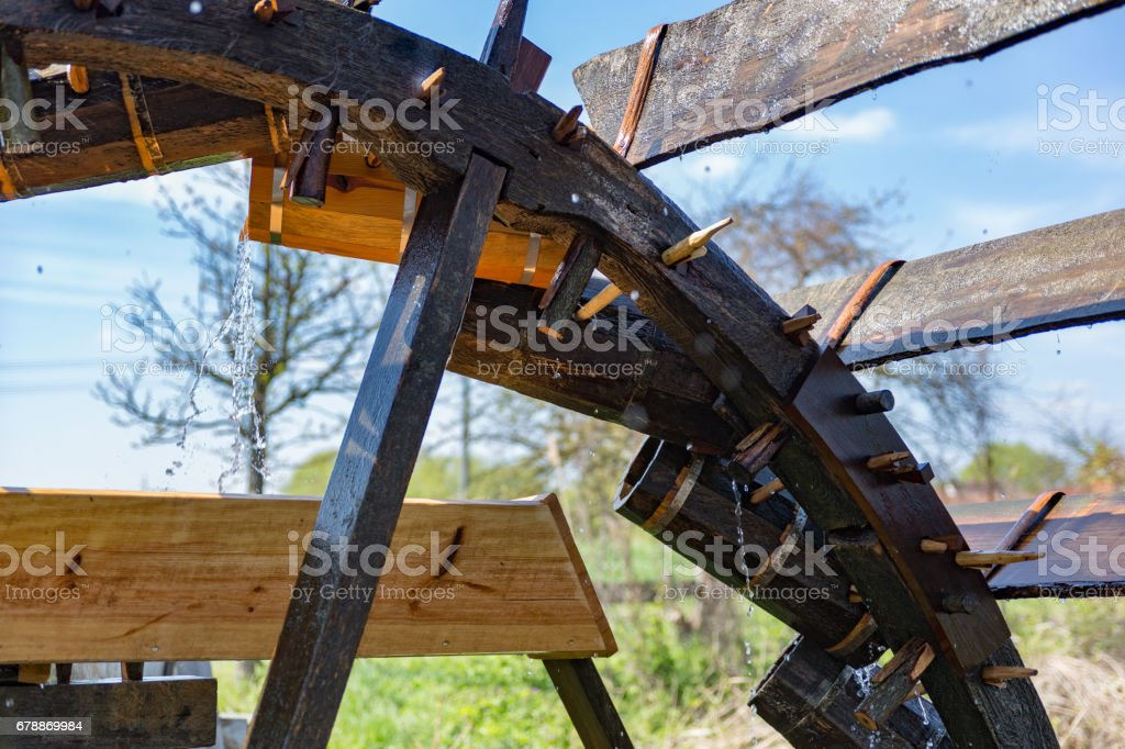 historic, irrigation water wheel, detail view stock photo