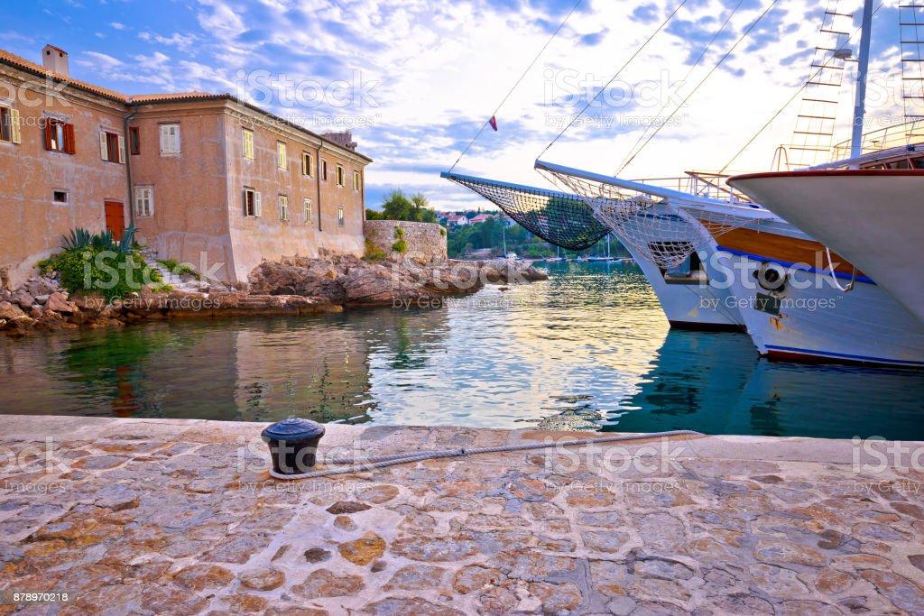 Historic island town of Krk walls and waterfront mornng view, Kvarner bay archipelago of Croatia stock photo