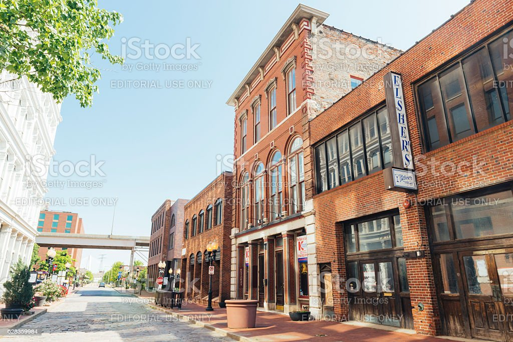 Historic Laclede's Landing Saint Louis Missouri Riverfront Street Scene Midwest stock photo