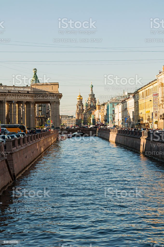 Historic landmarks along the Griboedov channel in St Petersburg, Russia stock photo