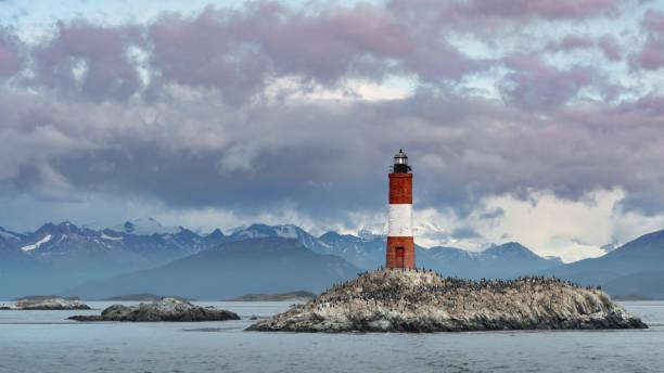 Historic light house in Ushuaia stock photo