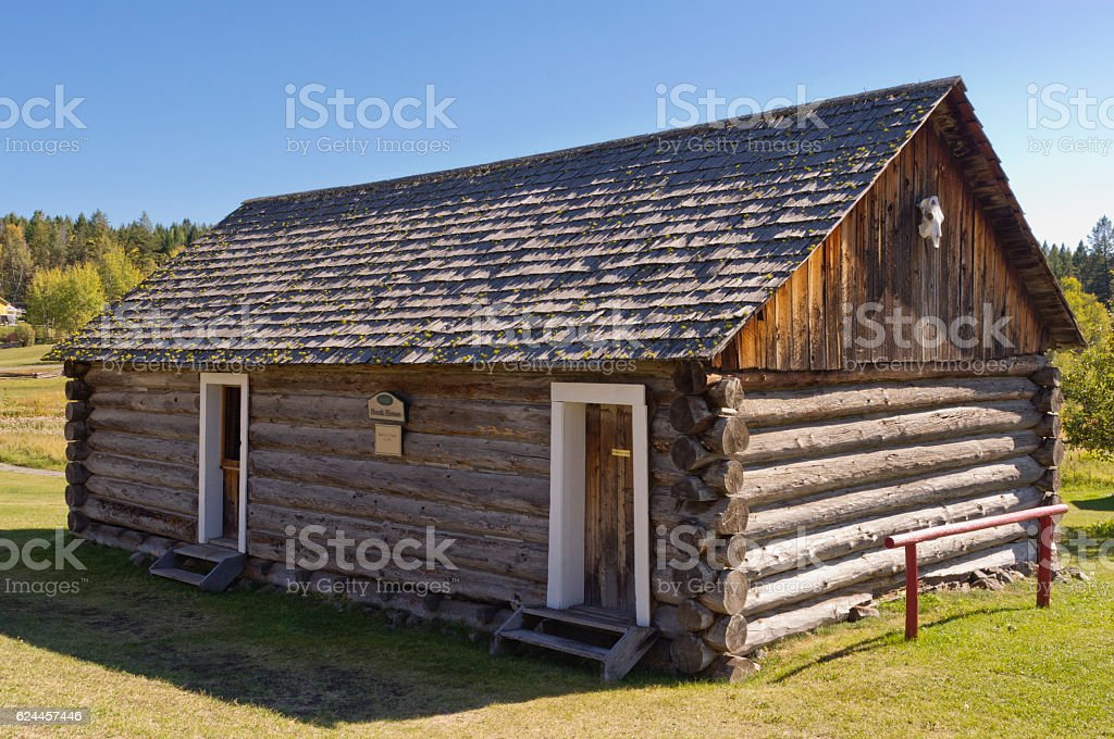 Historic log bunkhouse stock photo
