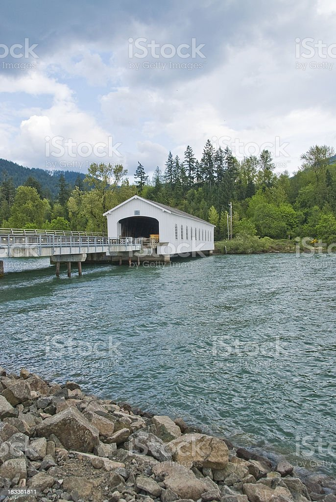 Historic Middle Fork Willamette River Covered Bridge stock photo