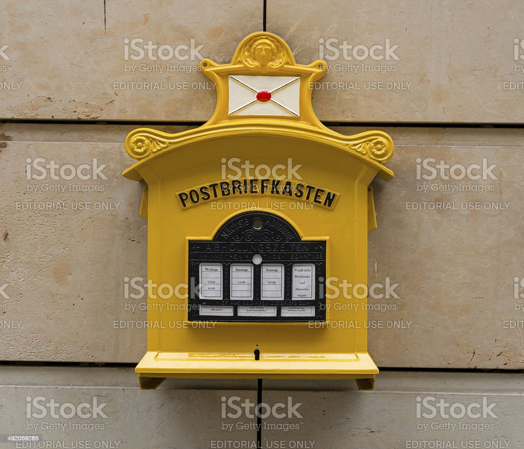 historic mail box in Dresden stock photo