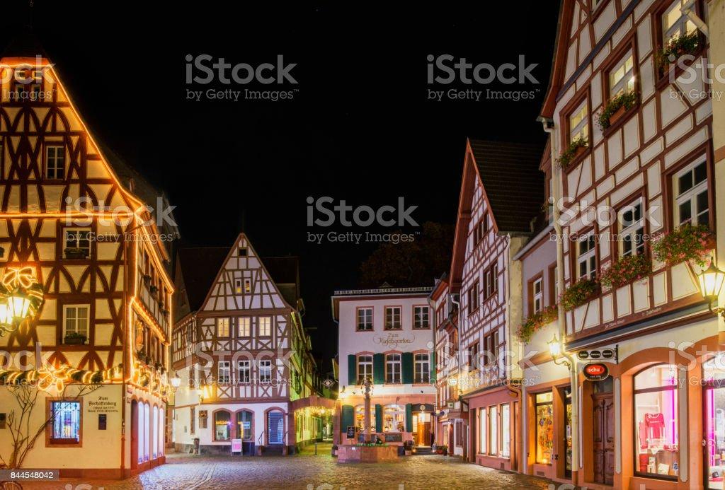Historic Mainz illuminated during Christmas season stock photo